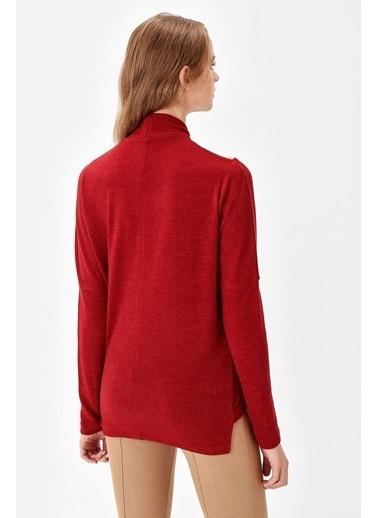 Jument Alba Yarım Balıkçı Yakası Aksesuarlı Yarasa Bluz Kırmızı